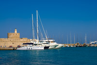 Luxury catamaran charter in harbor
