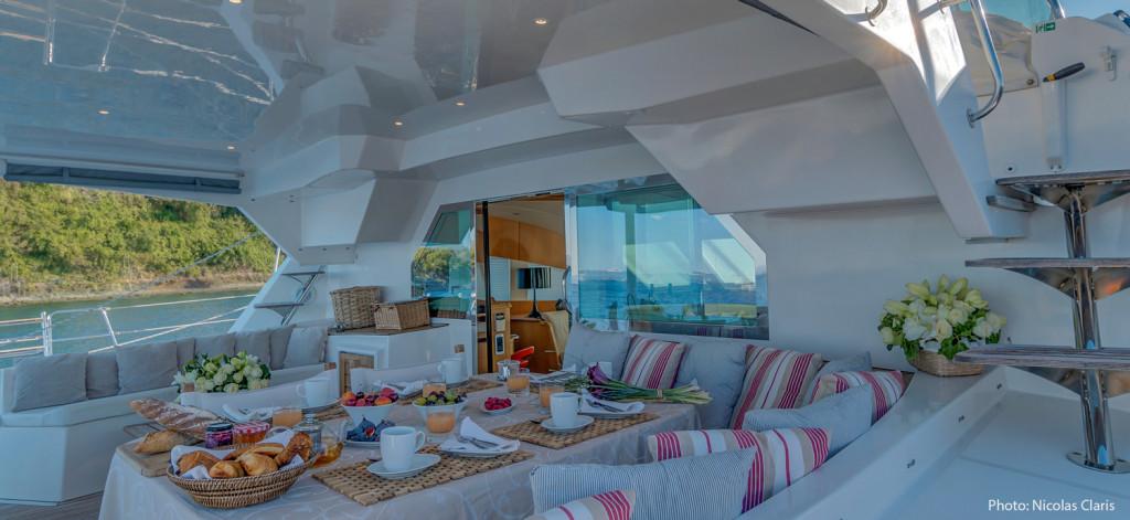 Breakfast onboard Blue Note catamaran