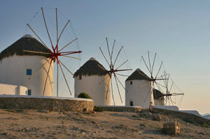 Windmills on Greek island
